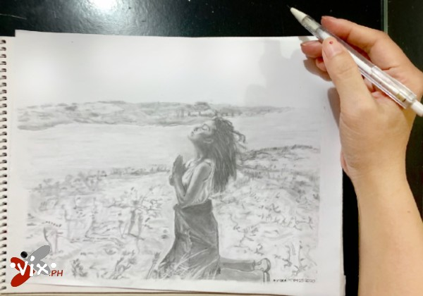 Milagro - mech pencil drawing by Vix Maria