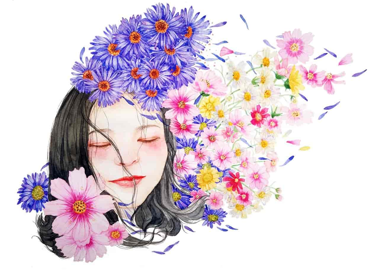 whitespace - girl and flowers-min