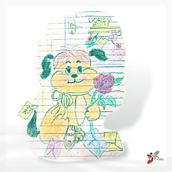 """""""Puppy doodle"""" (1986) by Vix Maria. Crayons on paper."""