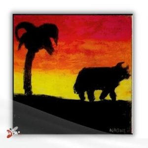 high school fine art projects - Tree and Bull Silhouette Art by NaomiRose vix.ph